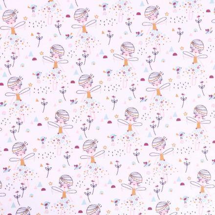 Tissu Jersey Coton Arty Fées et petits oiseaux Moutarde, prune roses et bleus sur fond Blanc - Par 10 cm
