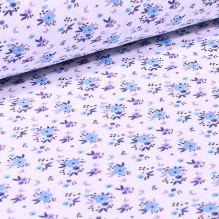 Tissu Jersey Coton Rosy bleu sur fond Blanc