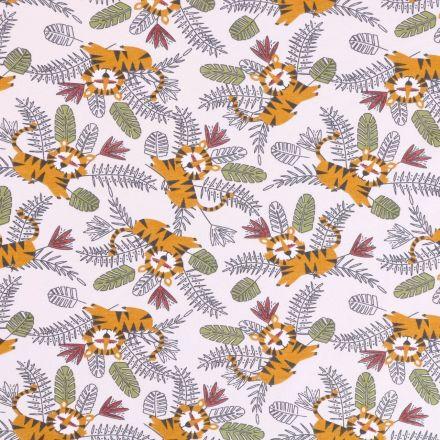 Tissu Jersey Coton Arty Tigres et feuilles de palmiers Moutarde, vert et bordeaux sur fond Ecru - Par 10 cm
