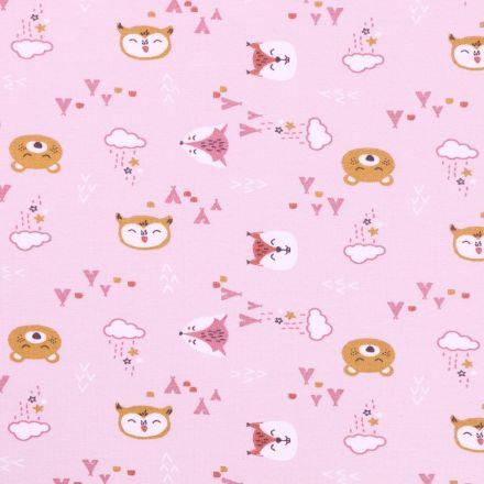 Tissu Jersey Coton Arty Ours et Renards Moutarde et roses sur fond Parme - Par 10 cm
