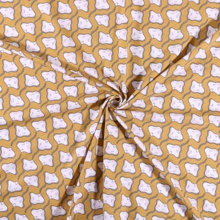 Tissu jersey coton  Raie sur fond Moutarde - Par 10 cm