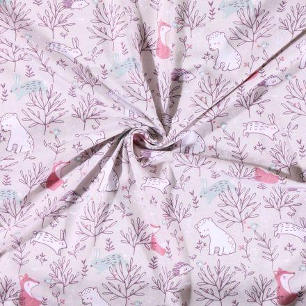 Tissu Jersey coton imprimé  Animaux de la forêt sur fond Beige - Par 10 cm