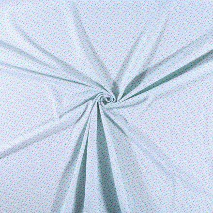 Tissu jersey coton  Pétales rose et vertes sur fond Bleu clair - Par 10 cm