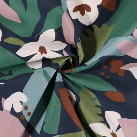 Tissu Toile de Coton Arty Feuilles et fleurs sur fond Bleu marine - Par 10 cm