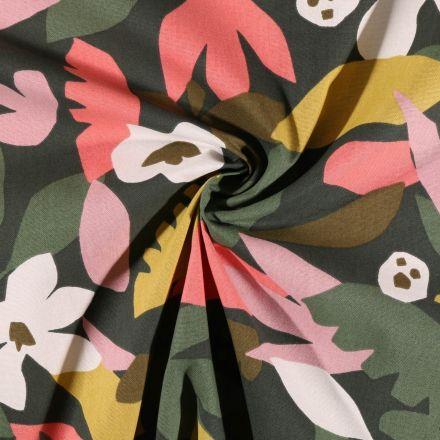 Tissu Toile de Coton Arty Feuilles et fleurs sur fond Vert foncé - Par 10 cm