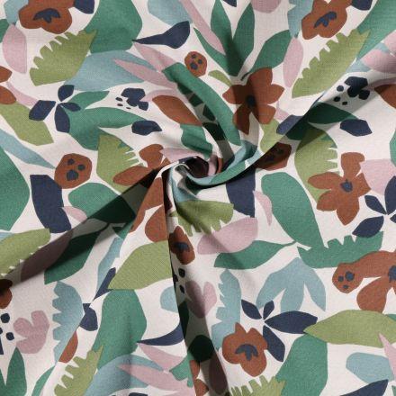 Tissu Toile de Coton Craftine Feuilles et fleurs marron et vertes sur fond Blanc - Par 10 cm