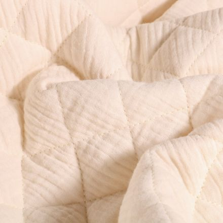 Tissu Double gaze Matelassée Ecru - Par 10 cm