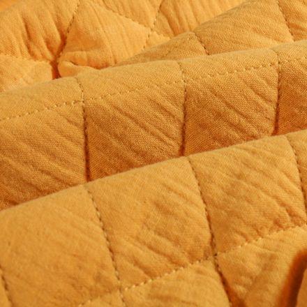 Tissu Double gaze Matelassée Moutarde - Par 10 cm