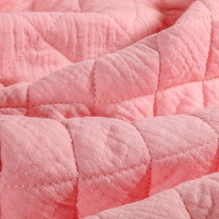 Tissu Double gaze Matelassée Rose blush - Par 10 cm