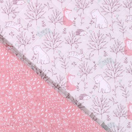 Tissu matelassé enfant Animaux de la forêt rose et blancs envers fleuris sur fond Gris clair - Par 10 cm
