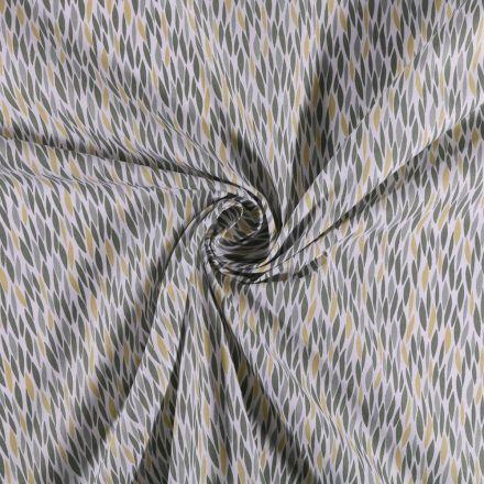 Tissu Coton imprimé Feuilles vertes et jaunes sur fond Blanc - Par 10 cm