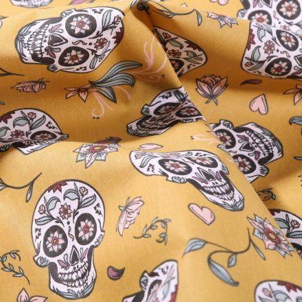 Tissu Coton imprimé Arty Calaveras sur fond Jaune moutarde - Par 10 cm