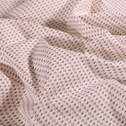 Tissu Coton imprimé Arty Mini éventails ocre sur fond Blanc - Par 10 cm