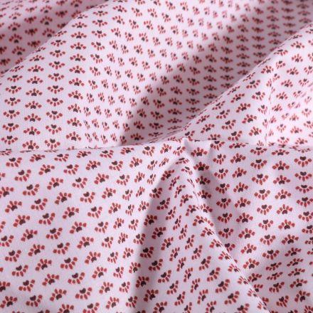 Tissu Coton imprimé Petits motifs grenat et prune sur fond Blanc - Par 10 cm