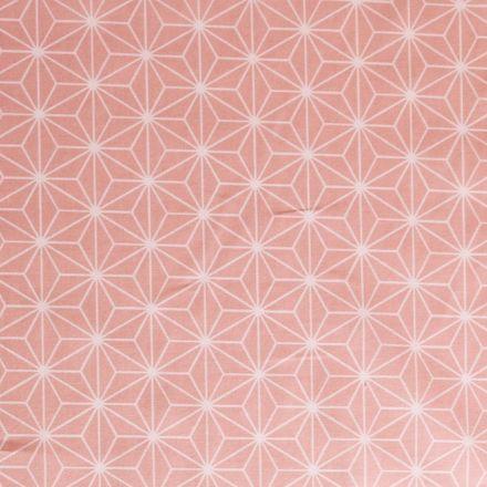 Tissu Coton Imprimé Arty Casual Rose - Par 10 cm