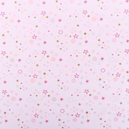 Tissu Coton Imprimé Arty Etoiles et cercles Rose / Gris / Or sur fod blanc - Par 10 cm