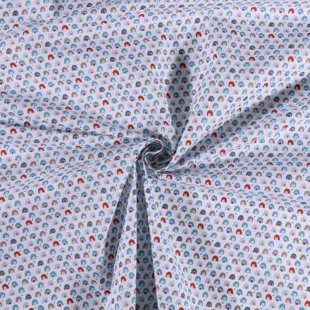 Tissu Coton imprimé Arcs en ciel multicolore sur fond Blanc - Par 10 cm