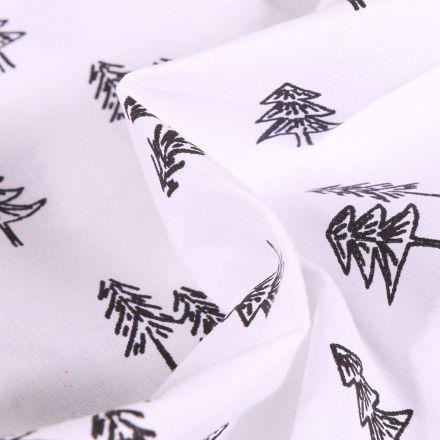 Tissu Coton imprimé Arty Sapins noirs sur fond Blanc
