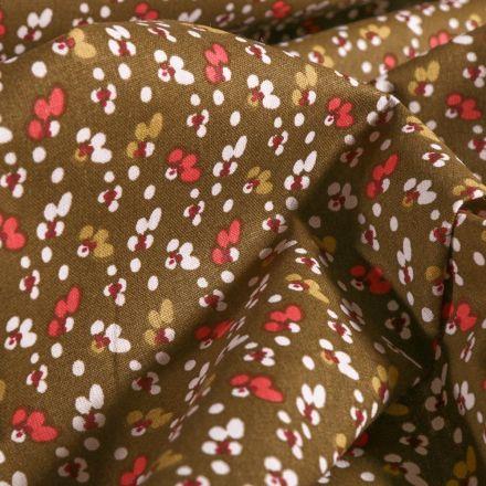 Tissu Coton imprimé Mini fleurs corail et blanches sur fond Vert kaki - Par 10 cm