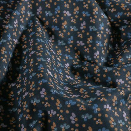 Tissu Coton imprimé Arty Petites pétales ocre et ciel sur fond Bleu marine - Par 10 cm