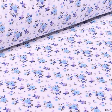 Tissu Coton imprimé Arty Rosy sur fond Blanc