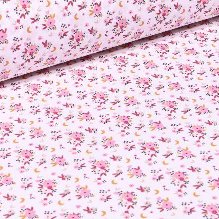 Tissu Coton imprimé Arty Rosy sur fond Ecru