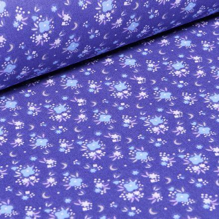 Tissu Coton imprimé Arty Rosy sur fond Bleu