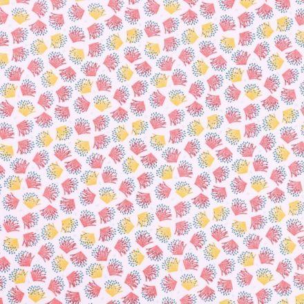 Tissu Coton Imprimé Arty Plantes roses, jaunes et bleues sur fond Blanc - Par 10 cm
