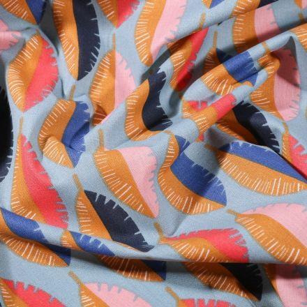 Tissu Coton imprimé Arty Feuilles bicolores sur fond Bleu - Par 10 cm