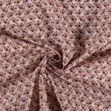Tissu Coton imprimé Arty Éventails ocre moutarde et rose sur fond Blanc - Par 10 cm