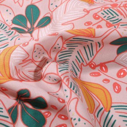 Tissu Coton imprimé Arty Grandes feuilles colorées sur fond Beige sable - Par 10 cm