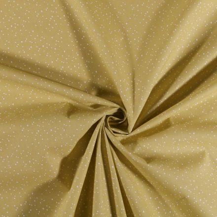 Tissu Coton imprimé Petits pois blancs sur fond Vert anis - Par 10 cm