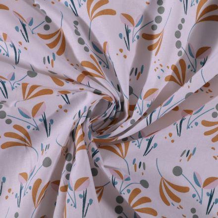 Tissu Coton imprimé Branches et pois moutarde et gris sur fond Blanc - Par 10 cm