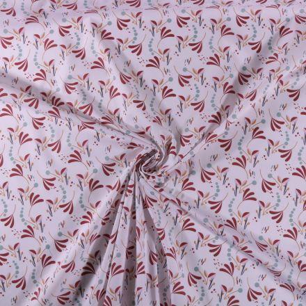 Tissu Coton imprimé Branches et pois bordeaux et vert sur fond Blanc - Par 10 cm