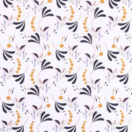 Tissu Coton imprimé Arty Motifs floraux Noirs, moutarde et rose poudre sur fond Blanc - Par 10 cm