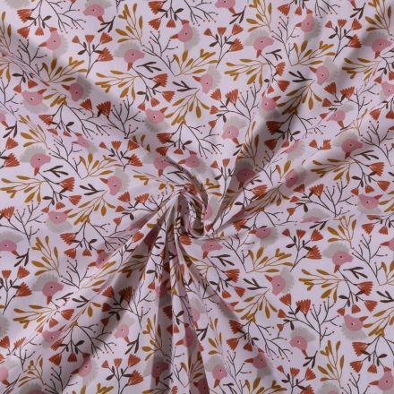 Tissu Coton imprimé Têtes de canards et feuillages sur fond Blanc - Par 10 cm