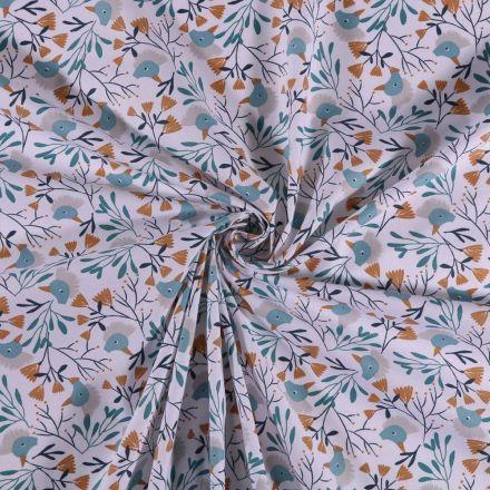 Tissu Coton imprimé Têtes de canards turquoise et feuillages sur fond Blanc - Par 10 cm