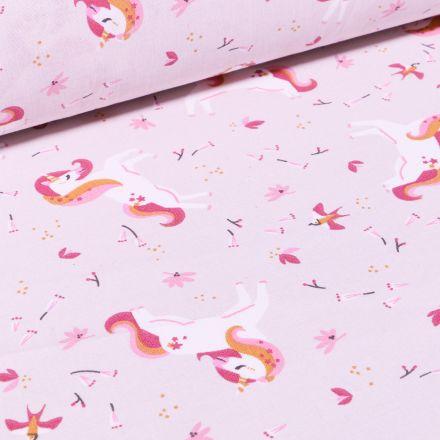 Tissu Coton imprimé Arty Licornes et petites fleurs sur fond Rose