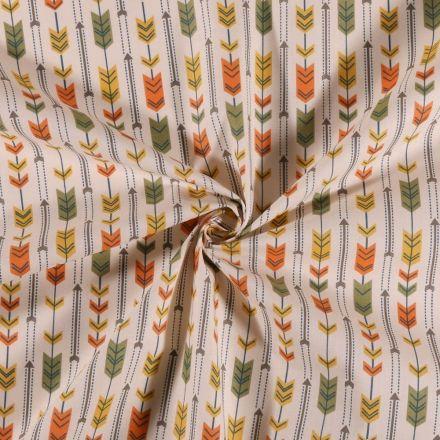 Tissu Coton imprimé Arty Flèches kaki orange et jaune sur fond Blanc - Par 10 cm