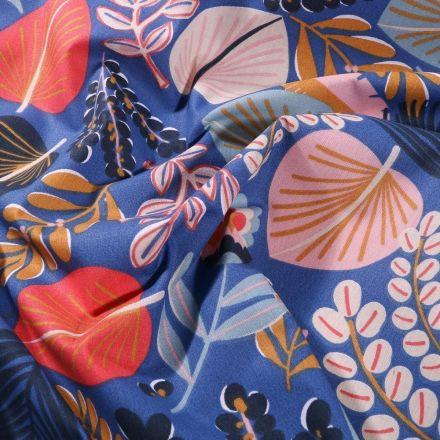 Tissu Coton imprimé Arty Goa sur fond Bleu - Par 10 cm