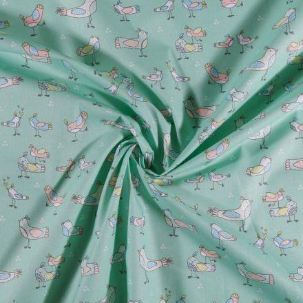 Tissu Coton imprimé Arty Oiseaux pastels sur fond Vert menthe clair - Par 10 cm
