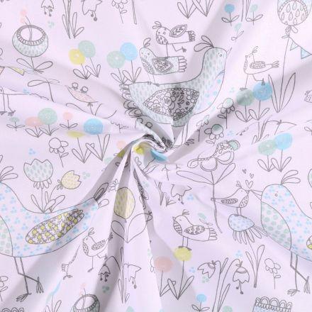 Tissu coton imprimé Arty Poules et fleurs pastel sur fond Blanc - Par 10 cm