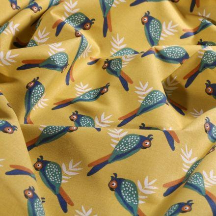 Tissu Coton imprimé Arty Perroquet vitaminé sur fond Jaune - Par 10 cm