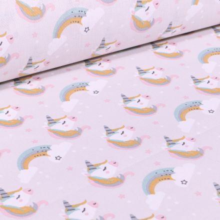 Tissu Coton imprimé Arty Licornes et arc en ciel pastel sur fond Blanc