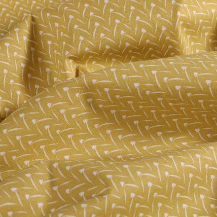 Tissu Coton imprimé Arty Arc sur fond Vert anis - Par 10 cm
