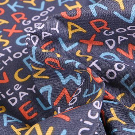 Tissu Coton imprimé Arty Lettres multicolores sur fond Bleu denim