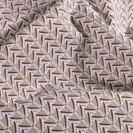 Tissu Coton imprimé Arty Éventails vert clair sur fond Blanc - Par 10 cm