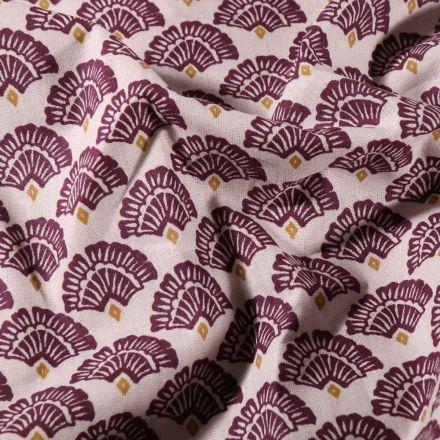 Tissu Coton imprimé Arty Éventails prune sur fond Ecru - Par 10 cm