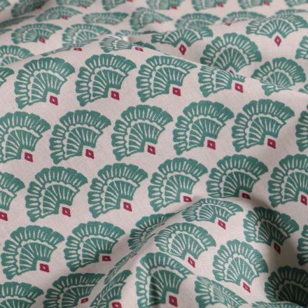 Tissu Coton imprimé Arty Éventails émeraude et rouge sur fond Blanc - Par 10 cm