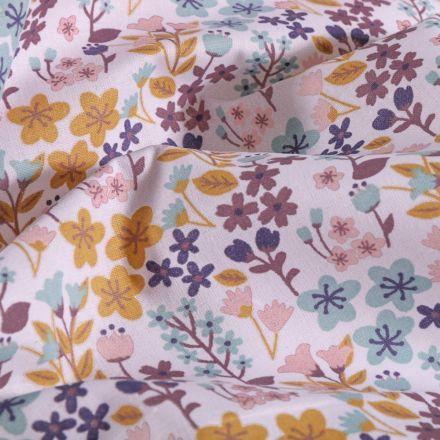 Tissu Coton imprimé Arty Prairie fleurie sur fond Blanc - Par 10 cm
